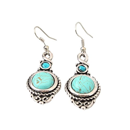 New Fashion Women's Lady Girls Round Turquoise Leaf Long Dangle Earrings