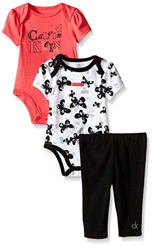 Calvin Klein Baby Girls' 2 Printed Bodysuits and Interlock Pants, Black, 24 Months