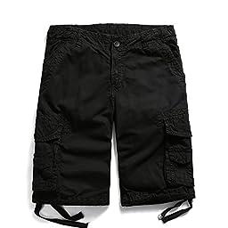 OCHENTA Men\'s Cotton Casual Multi Pockets Cargo Shorts #3231 black 36