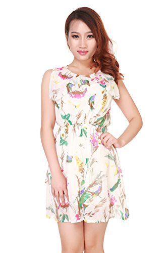 Am Clothes Womens Summer Floral Sleeveless Dress With Belt Large White front-941263