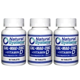 Natural Systems 3 Pack Calcium Magnesium Zinc + Vitamin D 3X90 Tablets Healthy Body