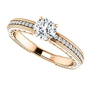 14K Rose Gold Round Cut Diamond Engagement Ring