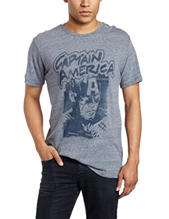 Junk Food Men's Captain America T-Shirt, Vintage Blue, Small