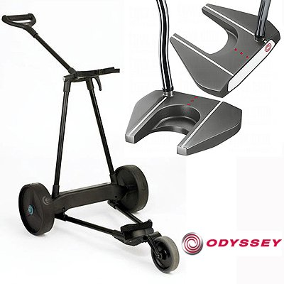 New! Emotion E3 23Lbs Pull Push Electric Motorized 3-Wheel Golf Cart Trolley + New! Odyssey Tank #7 Putter