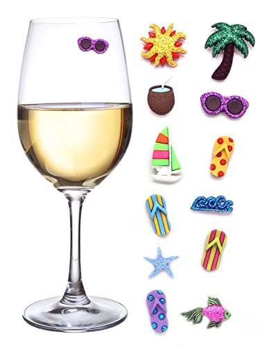 Beach & Sea Nautical Magnetic Wine Glass Charms or Cocktail Markers for Making Your Drink Unique - Set of 12 Summer Charms