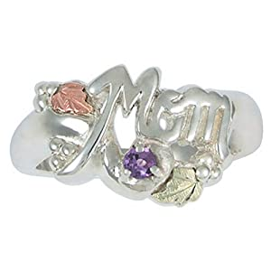 Ruby 'Mom' Sterling Silver Black Hills Gold Motif Ring, Size 9
