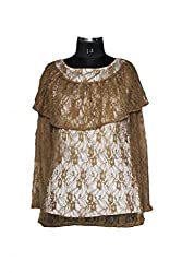 Exhort Fashion Brown Floral Net Top-L