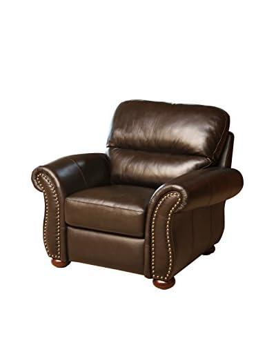 Abbyson Living Gavin Top Grain Leather Armchair, Chocolate Brown