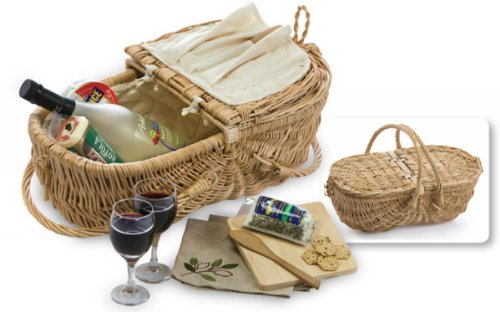 Picnic Plus Eco Natural Wine & Cheese Basket (Willow)