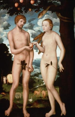 "Sale alerts for WallMonkeys.com Adam and Eve by Lucas Cranach the Elder - 30""H x 19""W - Peel and Stick Wall Decal by Wallmonkeys - Covvet"