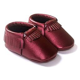 LIVEBOX Infant Baby Moccasins Soft Sole Anti-Slip Tassels Prewalker Toddler Shoes (3: 12~18 months, Wine)