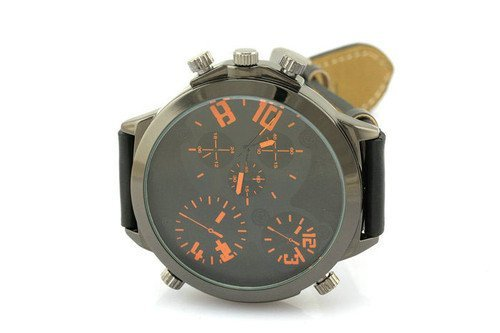 Male Military Orange Wrist Watch 3-Movt Round Dial Leather Band Fashion front-623596