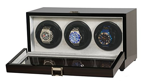 Belocia Triple Watch Winder Ebony Wood w/Digital LCD Display Powered w/Mabuchi Motors