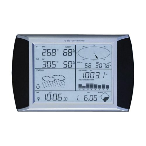 Nevada Touch Screen Wireless Weather Centre C/W Solar Panel  &  PC Interface - Black/White/Silver
