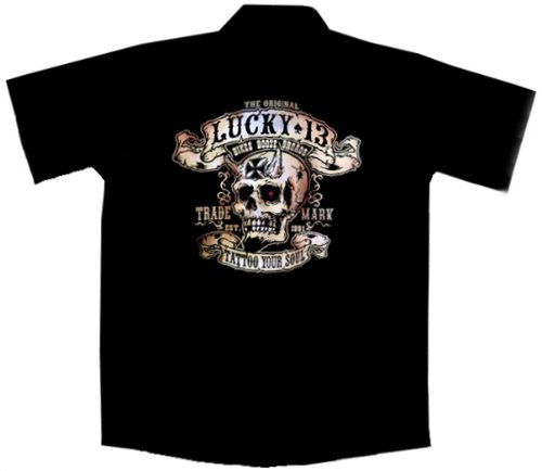 Devil Skull Biker Work Shirt, Bikes Booze Broads, Lucky 13 (XL, black)