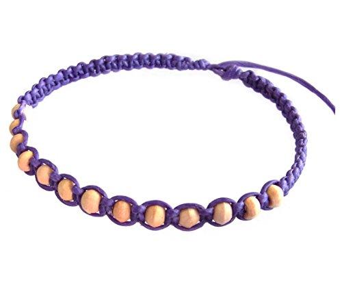 artisan-handgefertigt-unisex-modische-armband-weiss-holz-beads-lila-wachs-schnur