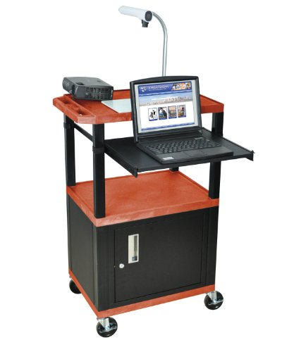 H.Wilson Contemporary Rolling Av Presentation Cart W/Cabinet, 3 Outlet Electrical Support And Pull Out Tray-Orange And Black- 2 Shelves