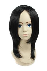 "13"" 32cm Black Medium Length Anime Cosplay Full Wig Hair Extension Fancy Costume"