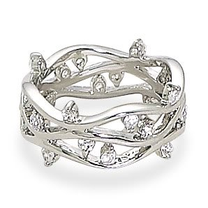 Sterling Silver Rhodium Plated Open Three Band CZ Ring / Size 6