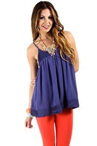 Pleated Trim Baby Doll Blouse in Blue