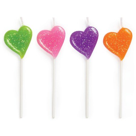 Club Pack of 48 Multi-Color Glitter Hearts Decorative Birthday Cupcake Pick Party Candles 3.25""