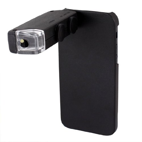 White Led Light 60X-100X Zoom Mini Microscope W Back Case For Iphone 5 5G 5Th