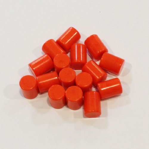 Plastic Cylinders: Set of 16 Orange Color Board Game Playing Pieces (Tokens & Markers, Colored School Classroom Supplies, Arts & Crafts Projects, Teaching & Education Toy Resource Components, Extra Instructional Play Materials)