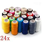 TOOGOO 24 Assorted Colors Polyester Sewing Thread-Pack of 24