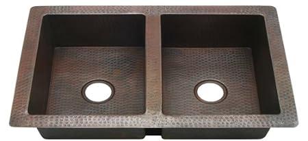 KDI36W25050 inch Hammermarc Copper Kitchen Sink Double Well 50/50