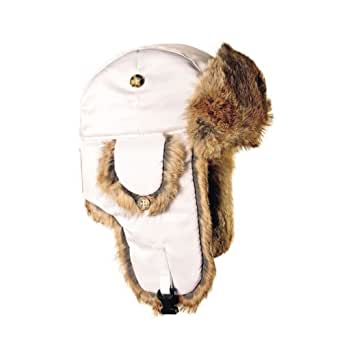Mad Bomber Kid's Lil' Mad Bomber Hat with Real Fur, White Supplex with Brown Fur, X-Large