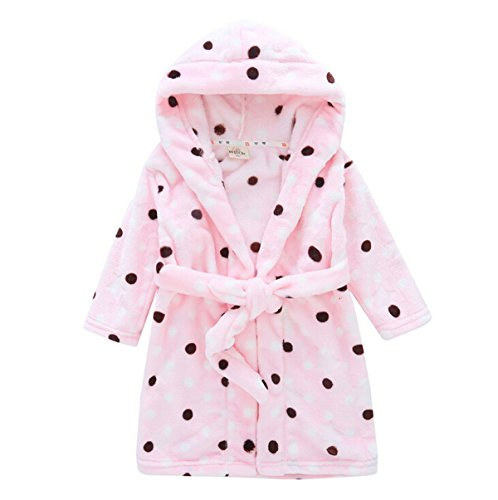Toddlers/kids Hooded Terry Robe Fleece Bathrobe Children's Pajamas Sleepwear (2T, Pink Polka Dot) (Toddler Hooded Robe compare prices)