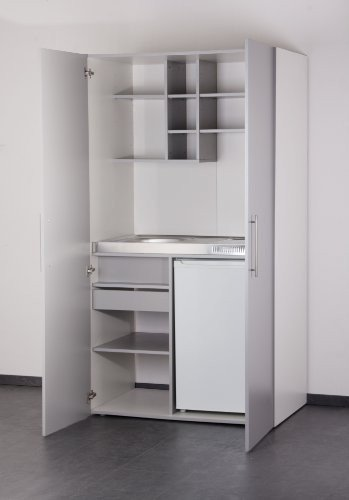 Galdem FONTAINE Kitchen Office Student Unit with Fridge Sink and Glass Ceramic Hob
