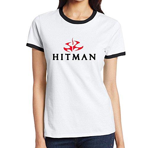 C-DIY Women's Color Block T Shirt New Style Hit Video Game Red Logo Man XXL Black
