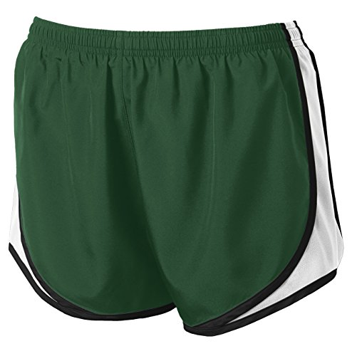 Ladies Moisture-Wicking Track & Field Running Shorts. Forest Green/ White/ Black