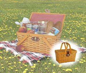 Lowest Prices! Quickway Imports QI003081 Gingham Lined Picnic Basket with Folding Handles
