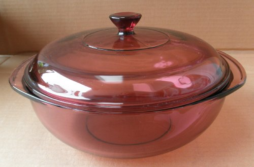 Vintage Pyrex 024 Cranberry Purple 2 Quart Glass Casserole Dish Ovenware w/ Lid - For Oven and Microwave use ONLY