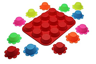 Silicone 12 Cup Muffin Pan Red with 12 pack Reusable Silicone Baking Cups / Cupcake Liners. Nonstick, flexible and easy to clean. Temperature range: -40~+230 centigrade.