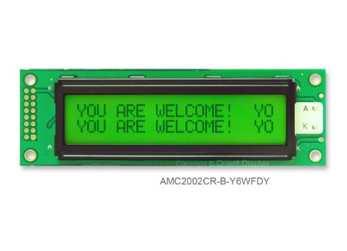 20X2 Character Lcd Module Stn Yellow Green Amc2002Cr-B-Y6Wfdy