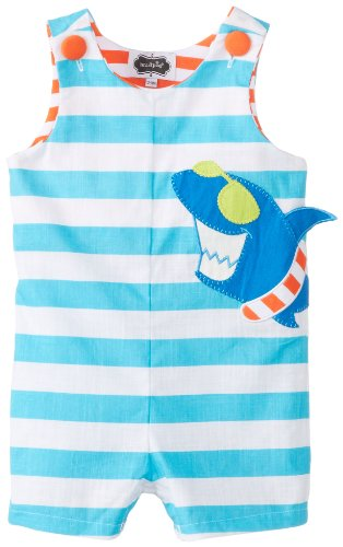 Mud Pie Baby-Boys Infant Shark Shortall, Blue, 12-18 Months front-1036005