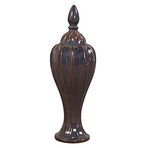 Howard Elliott 45008 Iridescent Glaze Vase with Lid, Tall, Pewter
