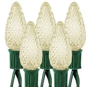 25 Warm White LED Faceted C9 Lights Holiday String Light Set