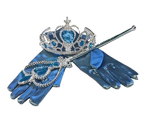 Royal Blue Princess Dress-up Accessories - 3 Piece Set: Gloves, Tiara & Wand (Blue)
