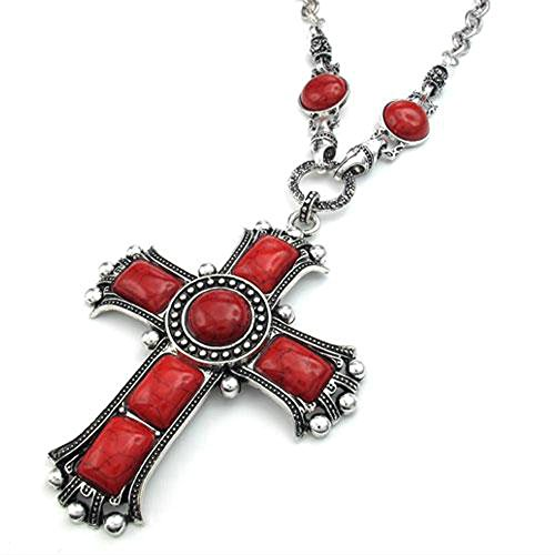 jonline24h-mens-womens-vintage-large-gothic-cross-pendant-necklace-chain-red-silver-red