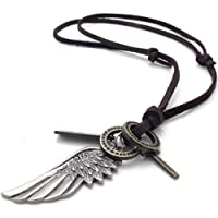 Konov Jewellery Unisex Mens Vintage Style Angel Wing Cross Pendant Genuine Leather Necklace Chain, Colour Brown Silver (with Gift Bag) from KONOV