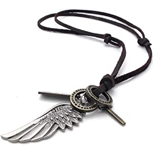 KONOV Jewelry Vintage Style Angel Wing Cross Pendant Genuine Leather Necklace Chain (with Gift Bag)