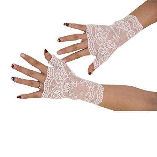 Aurora Bridal® Women's Short Lace Half Finger Bridal Gloves White