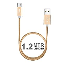 MTT Nylon Braided Tangle Free Metal Connector Head Dual Side Reversible Micro USB (1.2M, Gold)