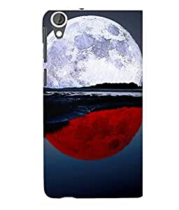 printtech Red White Moon Water Back Case Cover for HTC Desire 820::HTC Desire 820Q::HTC Desire 820S