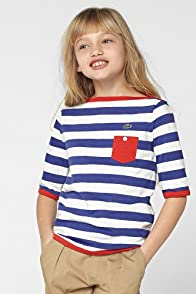 Girl's Elbow Sleeve Stripe Boatneck T-Shirt
