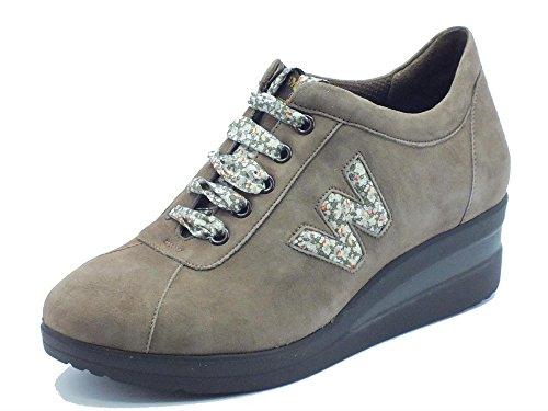 Sneakers donna Melluso in nabuk castoro con motivo floreale (Taglia 36)